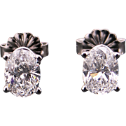 Exquisite 14k White Gold Oval Cut 1.20ct Diamond Stud Earrings