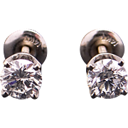 14k White Gold 1ct Round Brilliant Cut Diamond Stud Earrings with Screw Backs