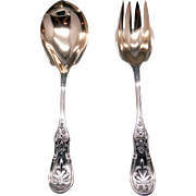 "Tiffany & Co Saratoga Sterling Silver Gold Salad Serving Set Spoon Fork 9"" inch"