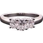 Amazing 14k White Gold 1ct Oval Cut Diamond Engagement Three Stone Ring Size 6.5 Past Present Future