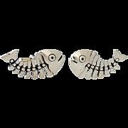 Antonio Pineda .970 Silver Pair of Fish Motif Cufflinks