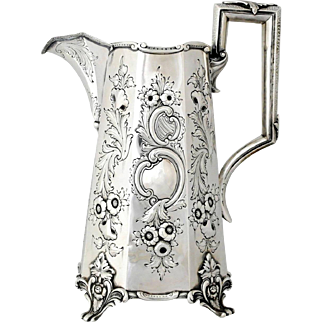 Superb R & W Wilson Coin Silver Serving Pitcher