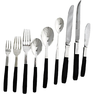 Superb Moderne Lunt Contrast Sterling Silver Nylon Flatware, 124 Piece Set
