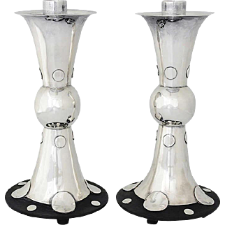 William Spratling Pair of Sterling Silver and Rosewood Candlesticks, 1939