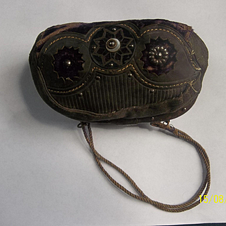 Antique Doll Purse Velvet and Leather