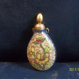Beautiful Painted Enamel Perfume Flask Pendant