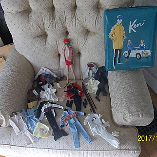 Vintage Mattel Ken with Case and All His Outfits