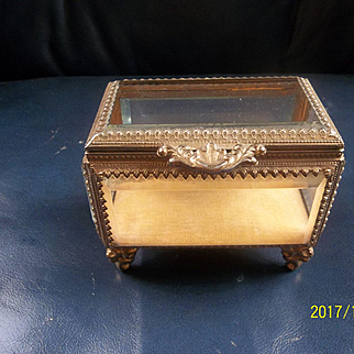 Vintage Beveled Glass Display  ( Jewlery or Doll Box)