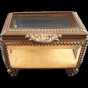 Vintage Beveled Glass Display  ( Jewlery or Doll Box)
