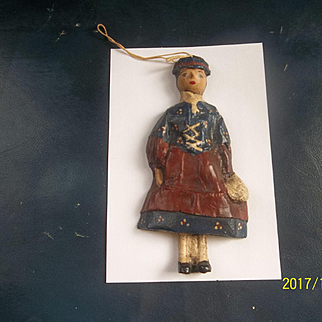 Extremely Rare 1890 Wooden Doll Ornament