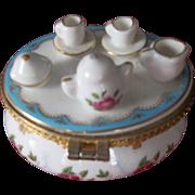 Delightful Little Tea Set on a Porcelain Box
