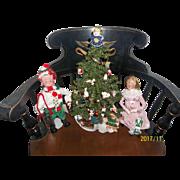 Vintage Christmas Tree with Hallmark Ornaments and Dolls
