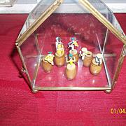 Vintage Rag Time Miniature Set in Glass Case