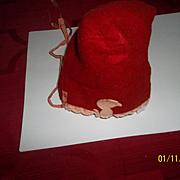 Great Vintage Red Felt Bonnet