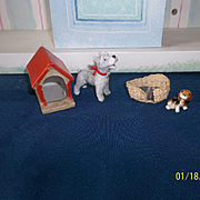 Sweet Dogs with Bed and House