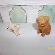 2 Carved Dogs From Stone