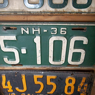 1936 NH Barn Find License Plate