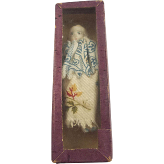 2.5 Inch Bisque Doll in a Wonderful Glass Covered Case