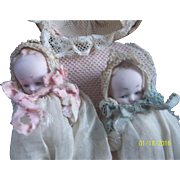 Amazing 3 Inch German Bisque Baby Twins In Original Presentation Basket