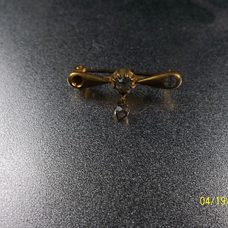 Antique Gold Finish Pin with Rhinestones