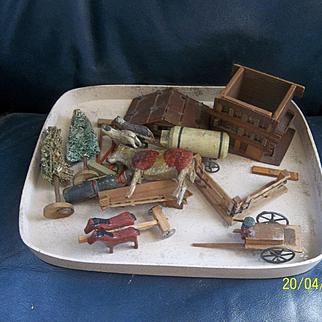 Wonderful Miniature Farm wit 3 Carts 2 with Horses ( Putz Set )