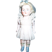 4 Inch All Bisque with Painted Eyes and Short Blue Boots