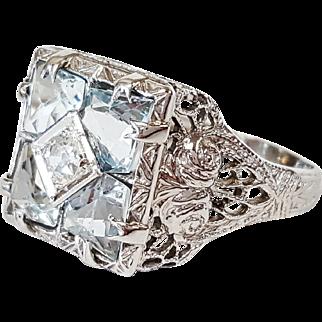 Victorian Style 14 Karat White Gold Aquamarine and Diamond Ring, Circa 1880