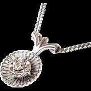 Handcrafted 18 Karat White Gold Diamond Pendant, Circa 1950