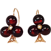 14kt Rose Gold Garnet Bead and Seed Pearl Earrings