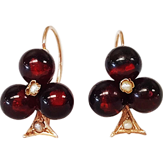 14 Karat Rose Gold Garnet Bead and Seed Pearl Earrings