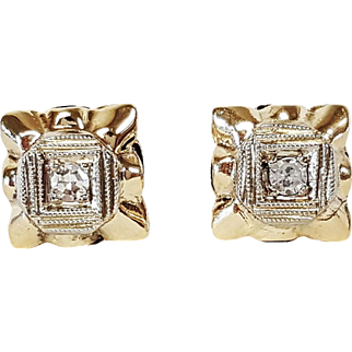 14kt White and Yellow Gold Diamond Earrings