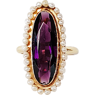 14kt Yellow Gold Ring set with Purple Glass and Cultured Pearls