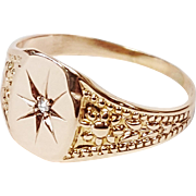 14kt Rose Gold Star Ring set with Old Mine cut Diamond