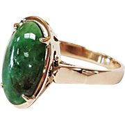 14 Karat Yellow Gold Custom Made Oval Jade Ring