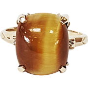 10kt Yellow Gold Ring set with Cushion cut Tigers Eye