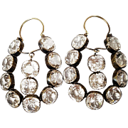 Georgian Style 14 Karat Yellow Gold Earrings set with Cushion cut Paste, Circa 1830