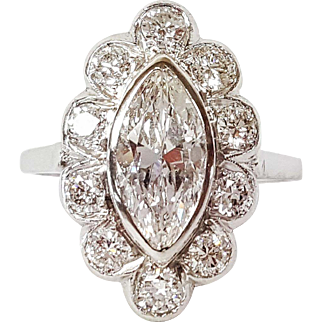 Art Deco Platinum set Diamond Ring with Floral-like Setting, Circa 1950