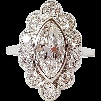Art Deco Platinum set Diamond Ring with Floral-like Setting, Circa 1950