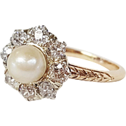 Victorian Style 14 Karat White and Yellow Gold Ring, set with Old Mine cut Diamonds and Cultured Pearl