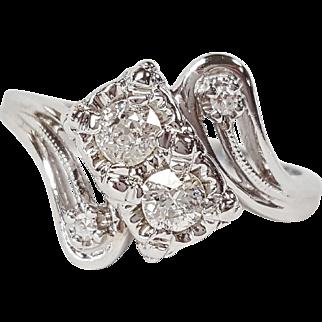 Art Deco 14 Karat White Gold Double Diamond Ring, Circa 1935