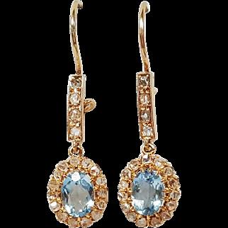 Mid-Victorian Custom Made Blue Topaz and Diamond Earrings, Circa 1860's