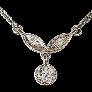 14kt White Gold Old European cut Diamond Pendant Necklace, Circa 1950