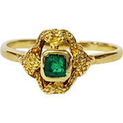 Victorian Style 18 Karat Yellow Gold and Emerald Ring