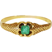 Georgian Style 18 Karat Yellow Gold and Emerald Ring