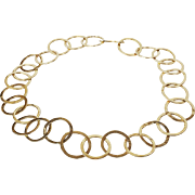 14kt Yellow Gold Circle Link Necklace with Hammered Finished