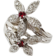 1930's 14 Karat White Gold Ruby and Diamond Flower Ring