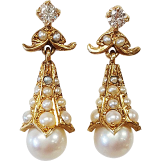 14kt Yellow Gold Pearl and Diamond Earrings