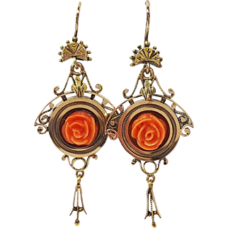 Victorian Style 14kt Rose Gold and Coral Earrings