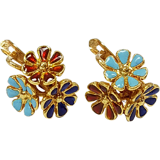18kt Yellow Gold Enameled Floral Earrings, Circa 1960's