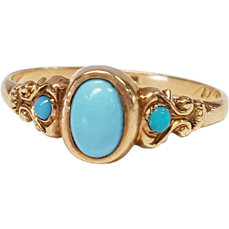 14kt Rose Gold Natural Turquoise Ring